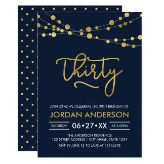 Elegant Modern Blue Faux Gold Lights 30th Birthday Card