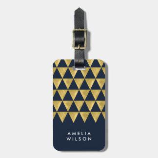Elegant Modern Blue Faux Gold Triangle Luggage Tag