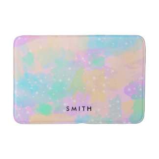 elegant modern bright pastel watercolor bath mat