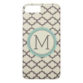 Elegant Modern Brown, Green and Beidge Quatrefoil iPhone 7 Plus Case