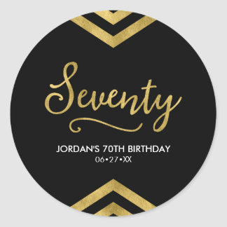 Elegant Modern Chevron Geometric 70th Birthday Classic Round Sticker
