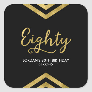 Elegant Modern Chevron Geometric 80th Birthday Square Sticker