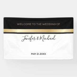 Elegant modern chic black white and gold wedding banner