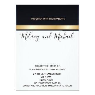 Elegant modern chic black white and gold wedding card