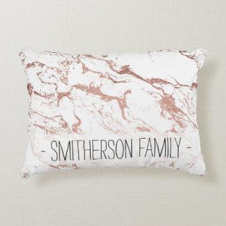 Elegant modern chic faux rose gold white marble decorative cushion