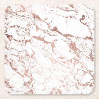 Elegant modern chic faux rose gold white marble square paper coaster