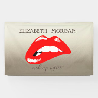Elegant Modern Chic Glamorous ,Luminous, Red Lips Banner