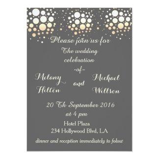 Elegant modern chic gold/bronze confetti wedding 14 cm x 19 cm invitation card