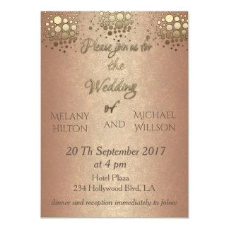 Elegant modern chic rose gold confetti wedding card