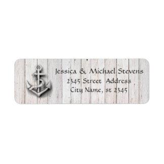 Elegant modern chic wedding nautical anchor wood return address label
