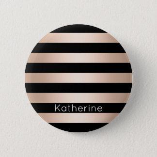 Elegant modern chick rose gold black striped 6 cm round badge