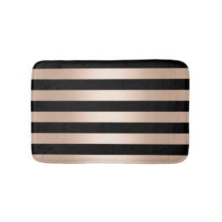 Elegant modern chick rose gold black striped bath mat
