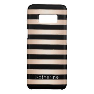Elegant modern chick rose gold black striped Case-Mate samsung galaxy s8 case