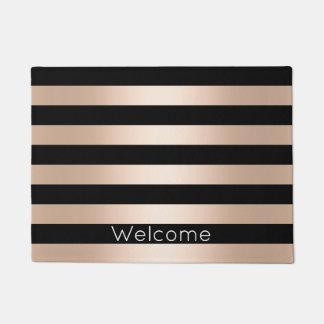 Elegant modern chick rose gold black striped doormat