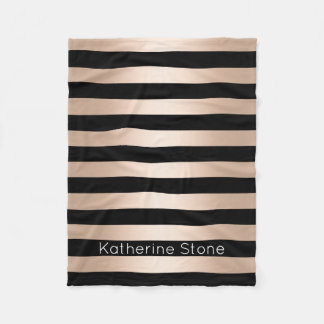 Elegant modern chick rose gold black striped fleece blanket