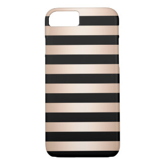 Elegant modern chick rose gold black striped iPhone 8/7 case