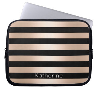 Elegant modern chick rose gold black striped laptop sleeve