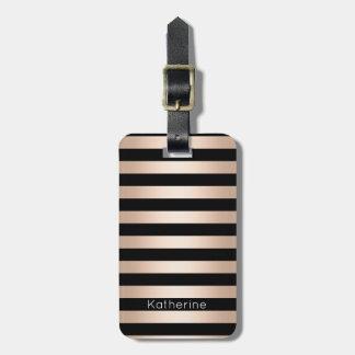 Elegant modern chick rose gold black striped luggage tag