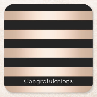 Elegant modern chick rose gold black striped square paper coaster