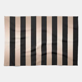 Elegant modern chick rose gold black striped tea towel