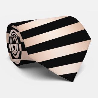 Elegant modern chick rose gold black striped tie
