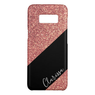 Elegant modern chick rose gold glitter black Case-Mate samsung galaxy s8 case