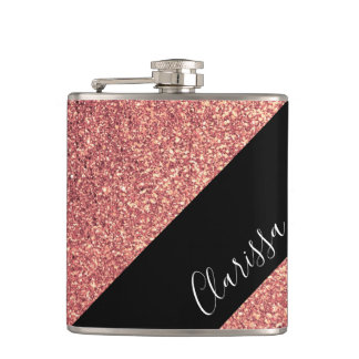 Elegant modern chick rose gold glitter black hip flask