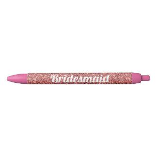 elegant modern chick rose gold glitter bridesmaid blue ink pen