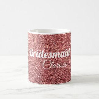 elegant modern chick rose gold glitter bridesmaid coffee mug
