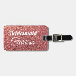 elegant modern chick rose gold glitter bridesmaid luggage tag