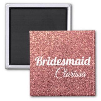 elegant modern chick rose gold glitter bridesmaid magnet