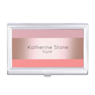 Elegant modern chick rose gold pink coral striped business card holder