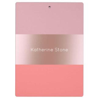 Elegant modern chick rose gold pink coral striped clipboard