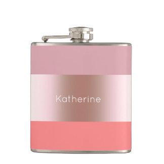 Elegant modern chick rose gold pink coral striped hip flask