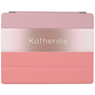 Elegant modern chick rose gold pink coral striped iPad cover