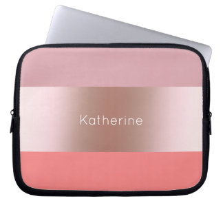 Elegant modern chick rose gold pink coral striped laptop sleeve