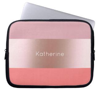 Elegant modern chick rose gold pink coral striped laptop sleeve