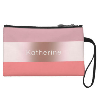 Elegant modern chick rose gold pink coral striped wristlet