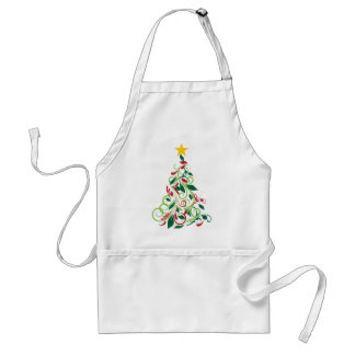 Elegant Modern Christmas tree Illustration Apron