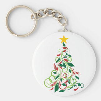 Elegant Modern Christmas tree Illustration Basic Round Button Key Ring