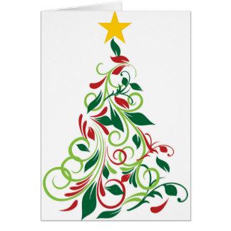 Elegant Modern Christmas tree Illustration Card