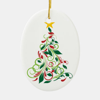 Elegant Modern Christmas tree Illustration Ceramic Oval Decoration