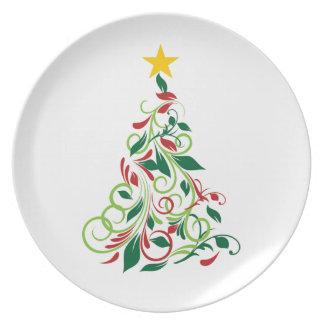 Elegant Modern Christmas tree Illustration Plates