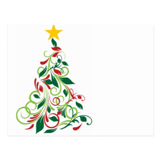Elegant Modern Christmas tree Illustration Postcard