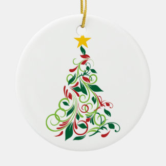 Elegant Modern Christmas tree Illustration Round Ceramic Decoration
