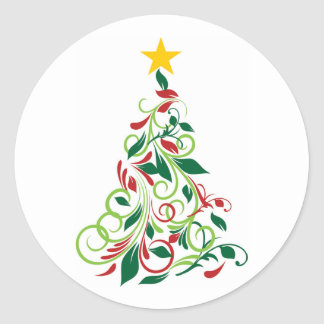 Elegant Modern Christmas tree Illustration Round Sticker
