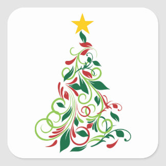 Elegant Modern Christmas tree Illustration Square Sticker