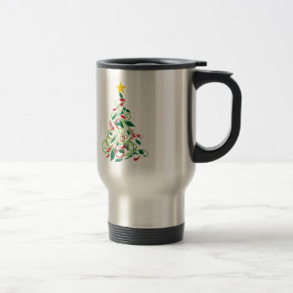 Elegant Modern Christmas tree Illustration Stainless Steel Travel Mug