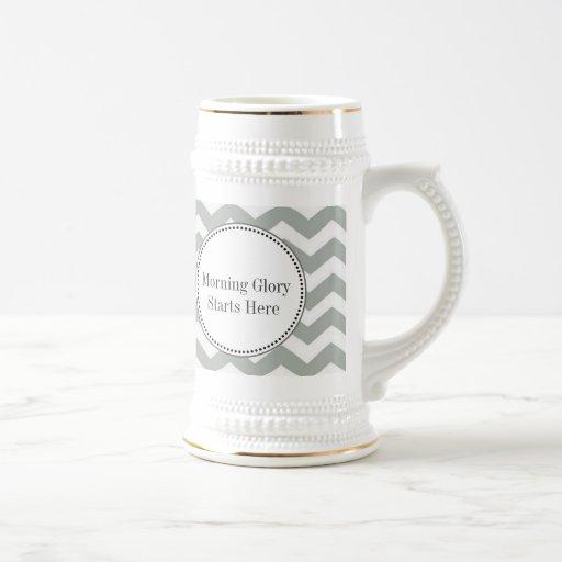 Elegant, modern, classic grey and white chevron mugs