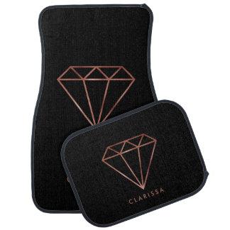elegant modern clear faux rose gold diamond black car mat